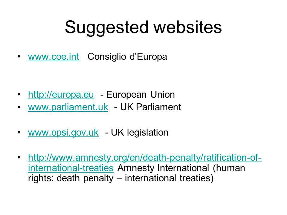 Suggested websites www.coe.int Consiglio d'Europa