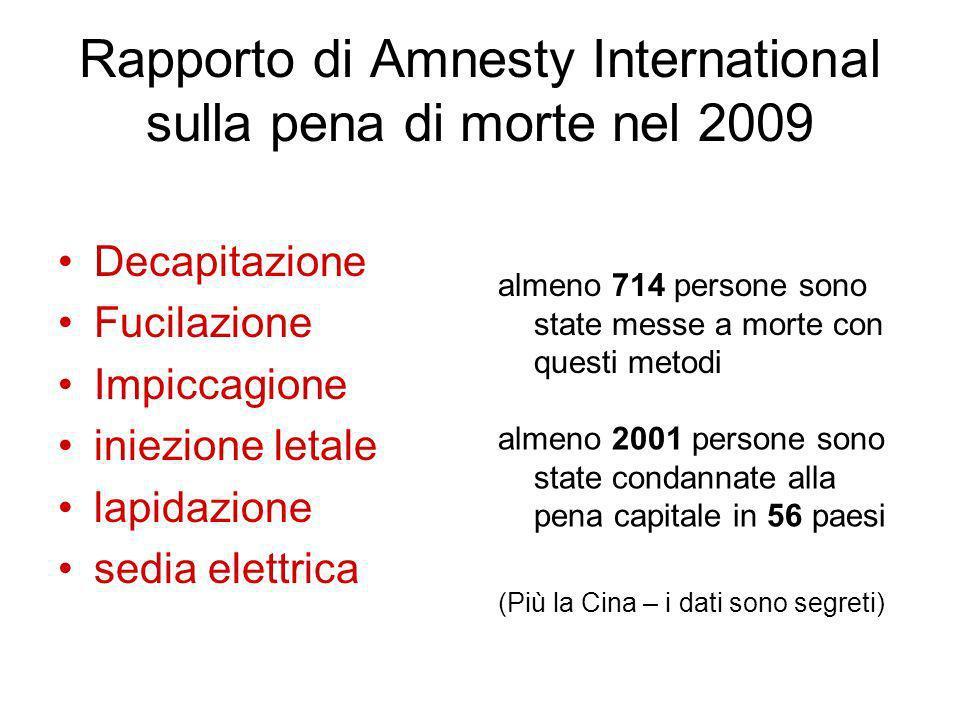 Rapporto di Amnesty International sulla pena di morte nel 2009