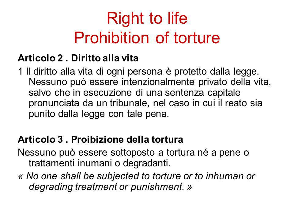 Right to life Prohibition of torture
