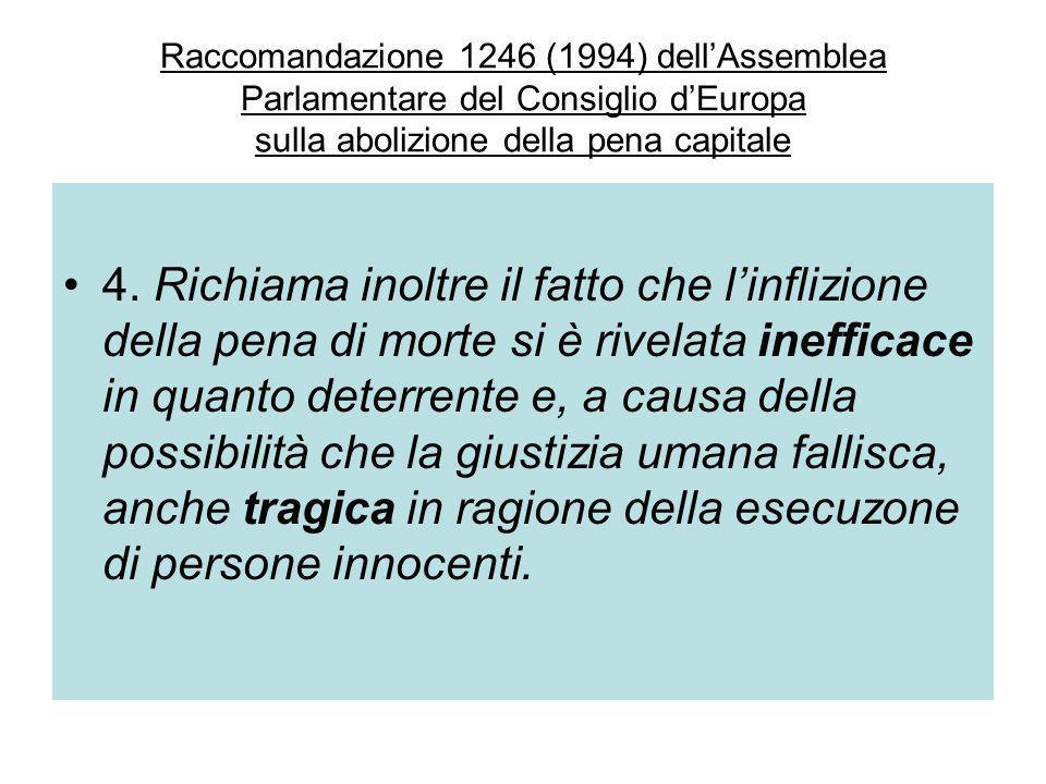 Raccomandazione 1246 (1994) dell'Assemblea Parlamentare del Consiglio d'Europa sulla abolizione della pena capitale