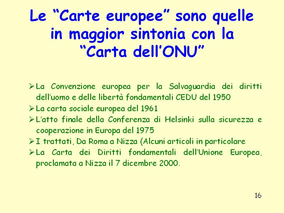Le Carte europee sono quelle in maggior sintonia con la Carta dell'ONU