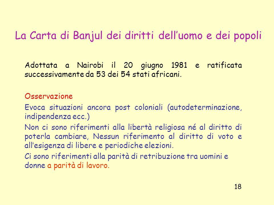 La Carta di Banjul dei diritti dell'uomo e dei popoli