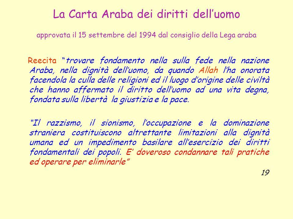 La Carta Araba dei diritti dell'uomo approvata il 15 settembre del 1994 dal consiglio della Lega araba