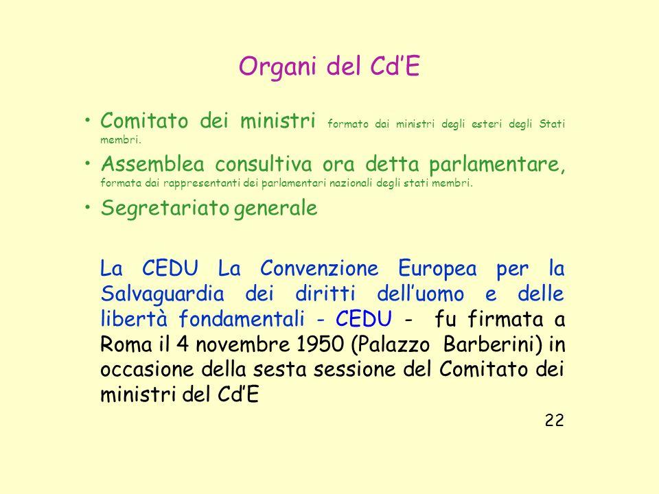Organi del Cd'E Comitato dei ministri formato dai ministri degli esteri degli Stati membri.