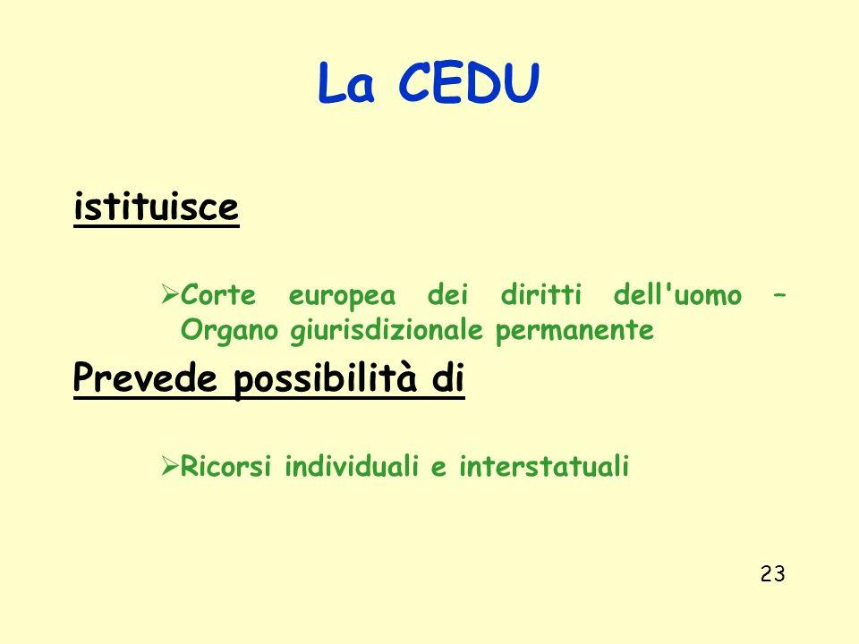 La CEDU istituisce Prevede possibilità di