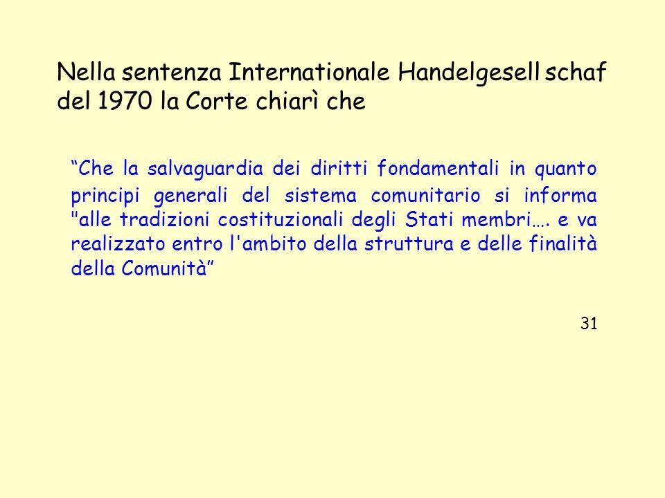 Nella sentenza Internationale Handelgesell schaf del 1970 la Corte chiarì che