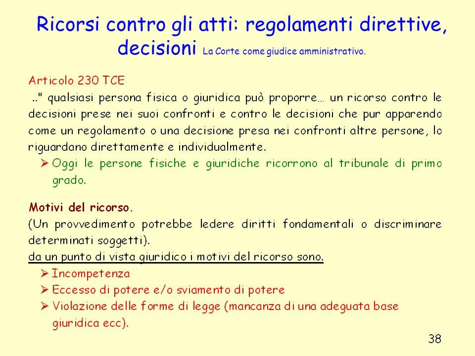 Ricorsi contro gli atti: regolamenti direttive, decisioni La Corte come giudice amministrativo.