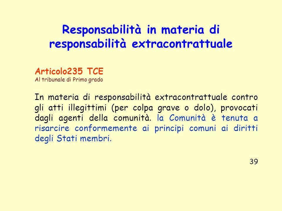 Responsabilità in materia di responsabilità extracontrattuale