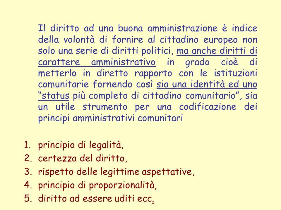 rispetto delle legittime aspettative, principio di proporzionalità,