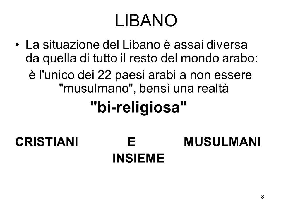 LIBANO La situazione del Libano è assai diversa da quella di tutto il resto del mondo arabo: