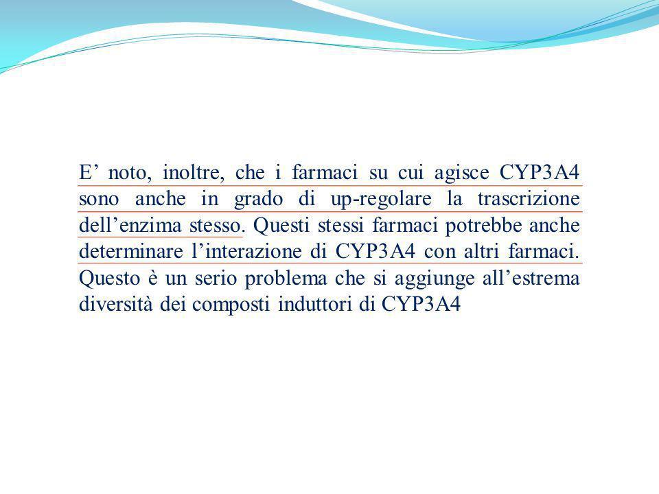 E' noto, inoltre, che i farmaci su cui agisce CYP3A4 sono anche in grado di up-regolare la trascrizione dell'enzima stesso.