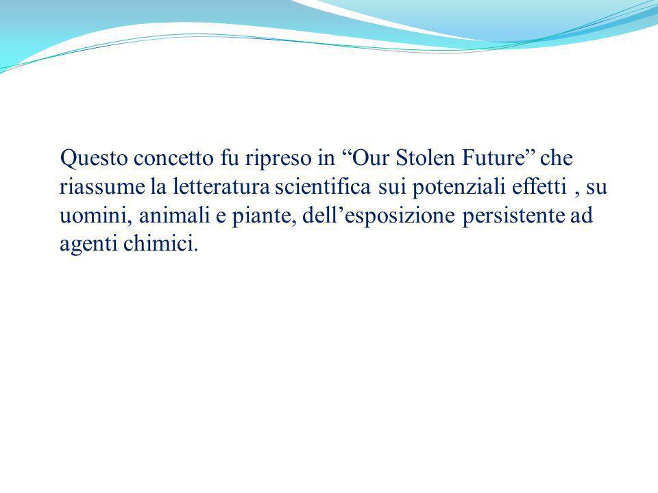 Questo concetto fu ripreso in Our Stolen Future che riassume la letteratura scientifica sui potenziali effetti , su uomini, animali e piante, dell'esposizione persistente ad agenti chimici.