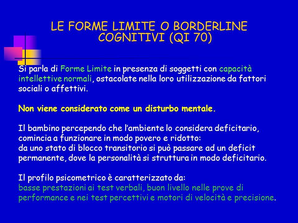 LE FORME LIMITE O BORDERLINE COGNITIVI (QI 70)