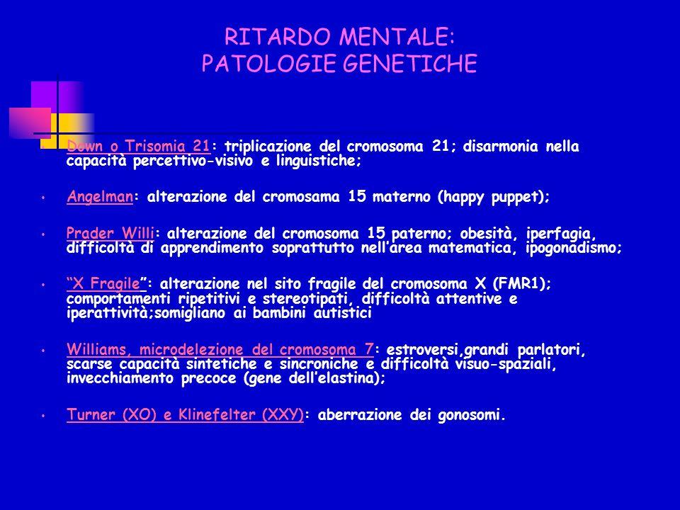 RITARDO MENTALE: PATOLOGIE GENETICHE