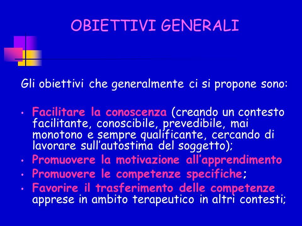 OBIETTIVI GENERALI Gli obiettivi che generalmente ci si propone sono: