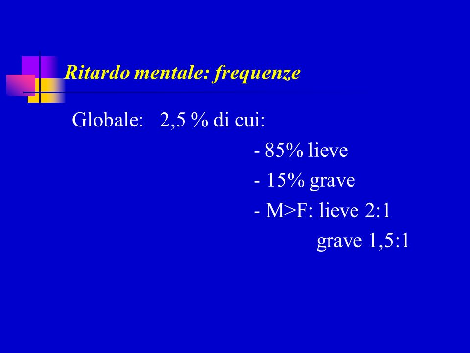 Ritardo mentale: frequenze