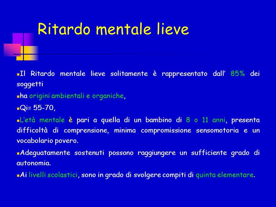 Ritardo mentale lieve Il Ritardo mentale lieve solitamente è rappresentato dall' 85% dei soggetti. ha origini ambientali e organiche,