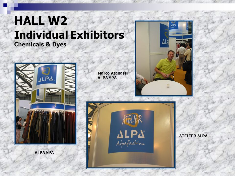 HALL W2 Individual Exhibitors Chemicals & Dyes