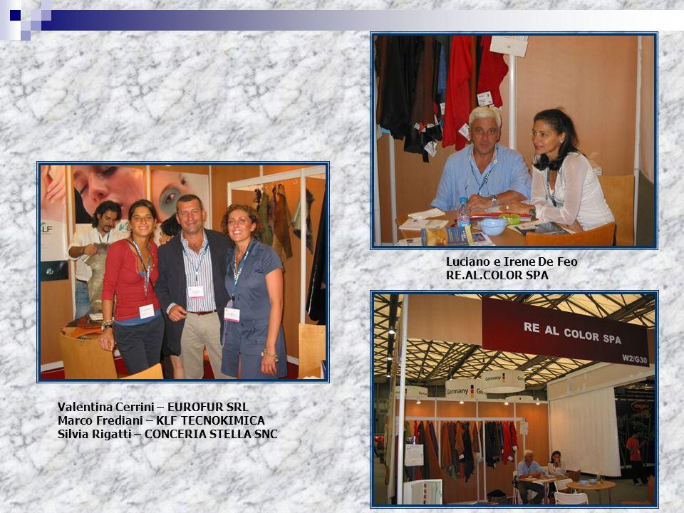Luciano e Irene De Feo RE.AL.COLOR SPA. Valentina Cerrini – EUROFUR SRL. Marco Frediani – KLF TECNOKIMICA.