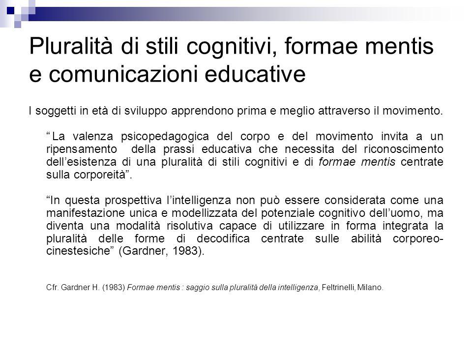 Pluralità di stili cognitivi, formae mentis e comunicazioni educative