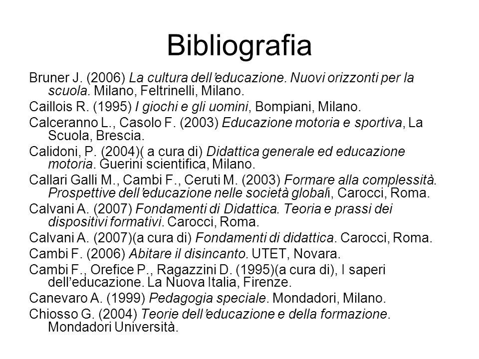 Bibliografia Bruner J. (2006) La cultura dell'educazione. Nuovi orizzonti per la scuola. Milano, Feltrinelli, Milano.