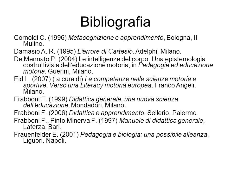 Bibliografia Cornoldi C. (1996) Metacognizione e apprendimento, Bologna, Il Mulino. Damasio A. R. (1995) L'errore di Cartesio. Adelphi, Milano.