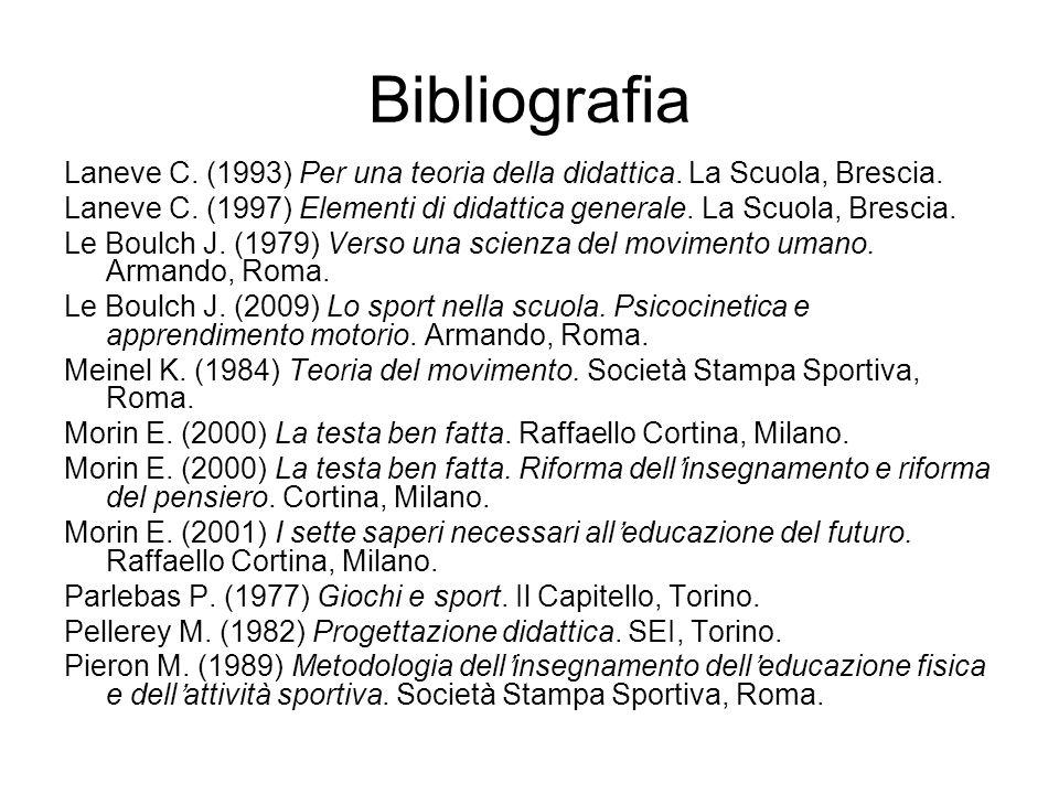 Bibliografia Laneve C. (1993) Per una teoria della didattica. La Scuola, Brescia.