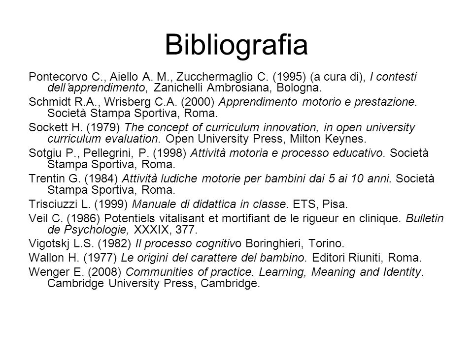 Bibliografia Pontecorvo C., Aiello A. M., Zucchermaglio C. (1995) (a cura di), I contesti dell'apprendimento, Zanichelli Ambrosiana, Bologna.