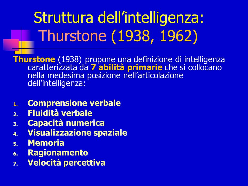 Struttura dell'intelligenza: Thurstone (1938, 1962)