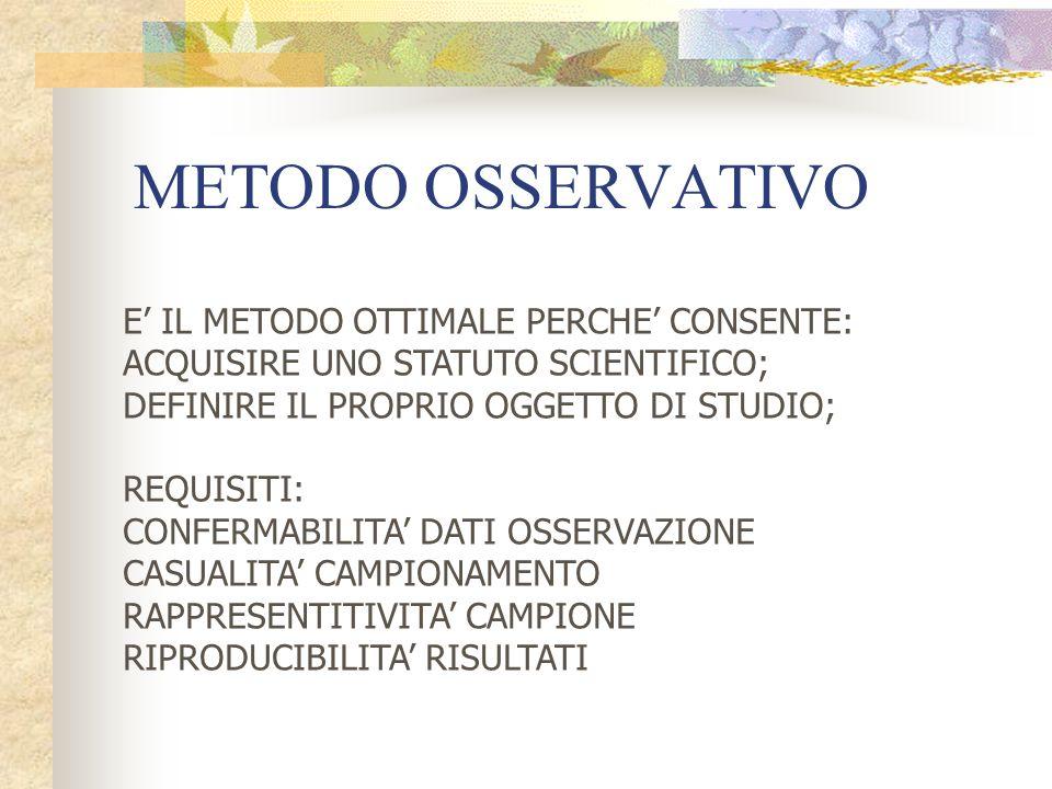 METODO OSSERVATIVO E' IL METODO OTTIMALE PERCHE' CONSENTE: