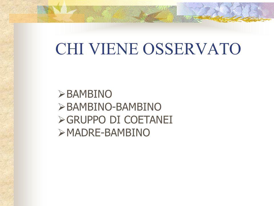 CHI VIENE OSSERVATO BAMBINO BAMBINO-BAMBINO GRUPPO DI COETANEI