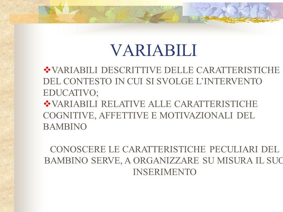 VARIABILI VARIABILI DESCRITTIVE DELLE CARATTERISTICHE