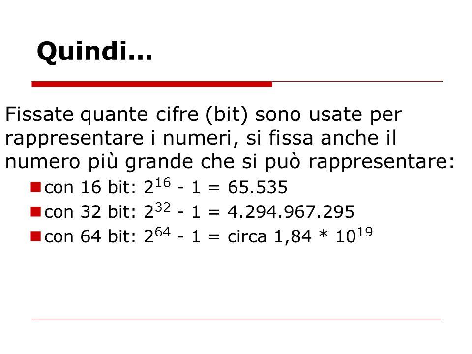 Quindi… Fissate quante cifre (bit) sono usate per rappresentare i numeri, si fissa anche il numero più grande che si può rappresentare: