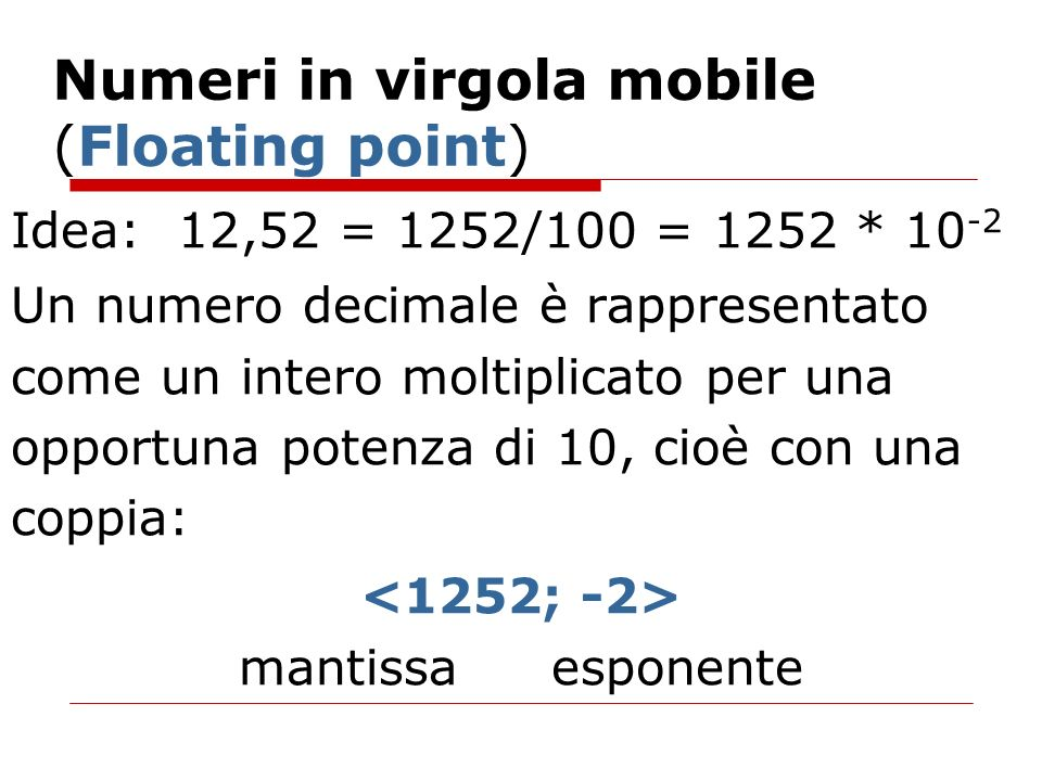 Numeri in virgola mobile (Floating point)