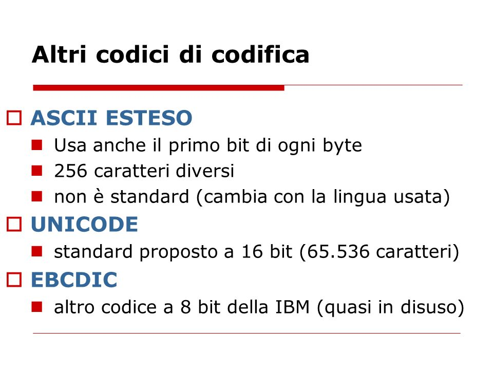 Altri codici di codifica
