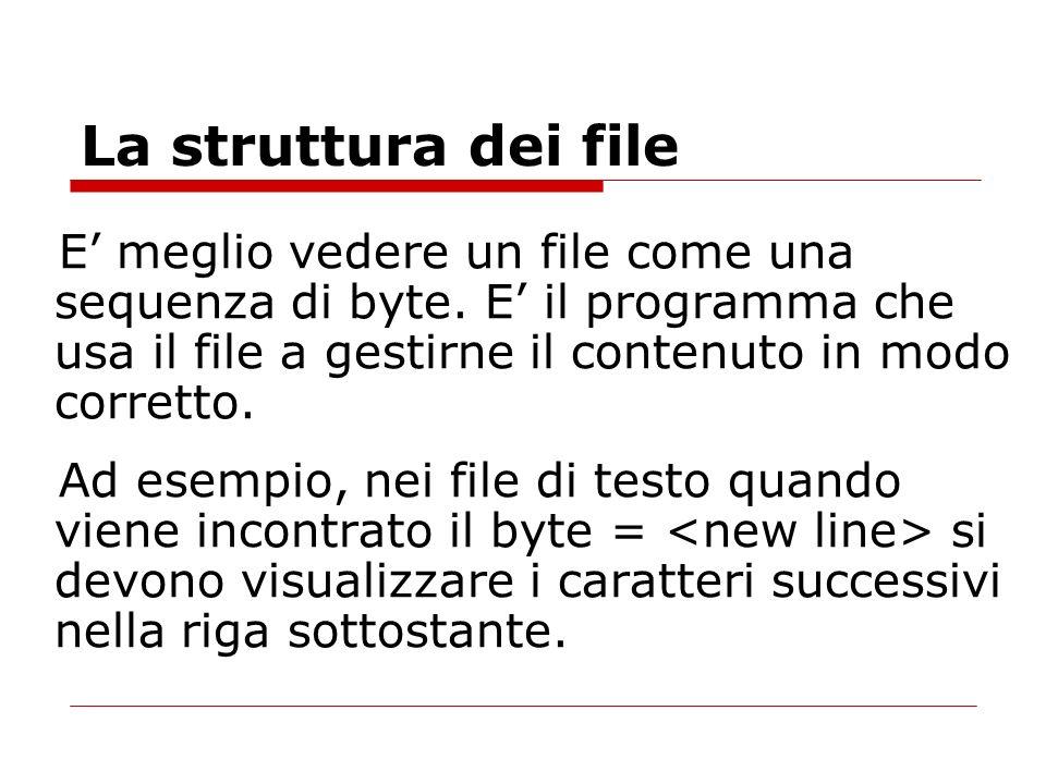 La struttura dei fileE' meglio vedere un file come una sequenza di byte. E' il programma che usa il file a gestirne il contenuto in modo corretto.