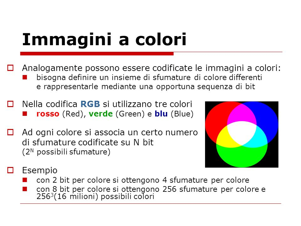 Immagini a colori Analogamente possono essere codificate le immagini a colori: bisogna definire un insieme di sfumature di colore differenti.