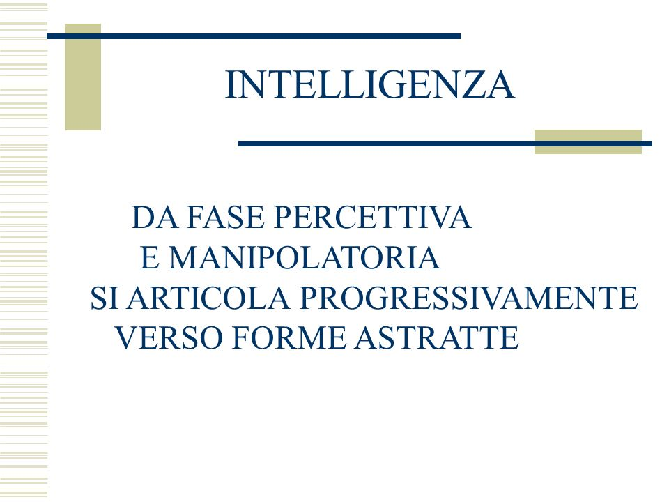 INTELLIGENZA DA FASE PERCETTIVA E MANIPOLATORIA