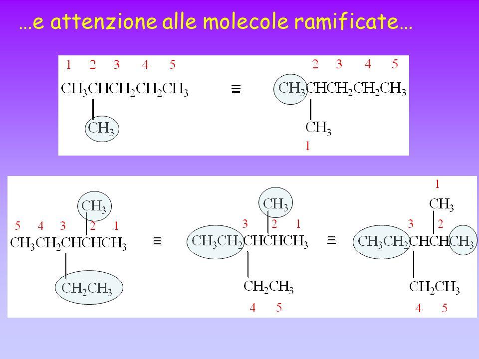 …e attenzione alle molecole ramificate…