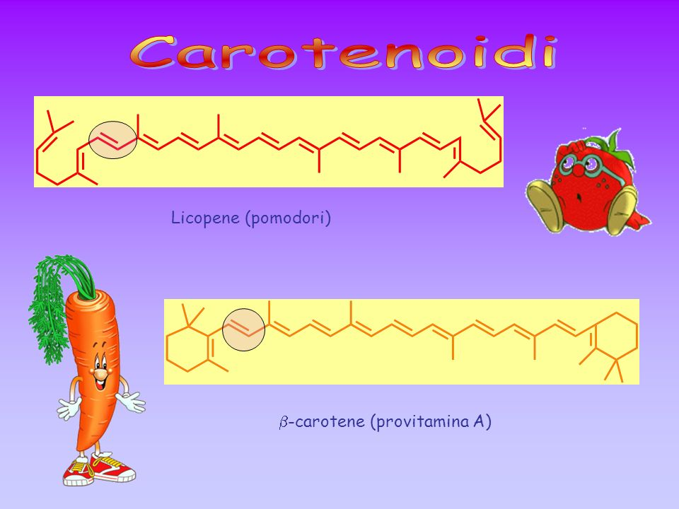 Carotenoidi Licopene (pomodori) b-carotene (provitamina A)