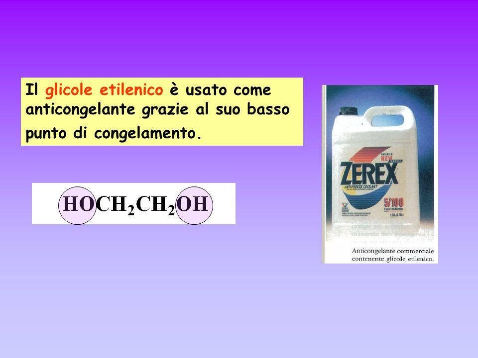Il glicole etilenico è usato come anticongelante grazie al suo basso punto di congelamento.
