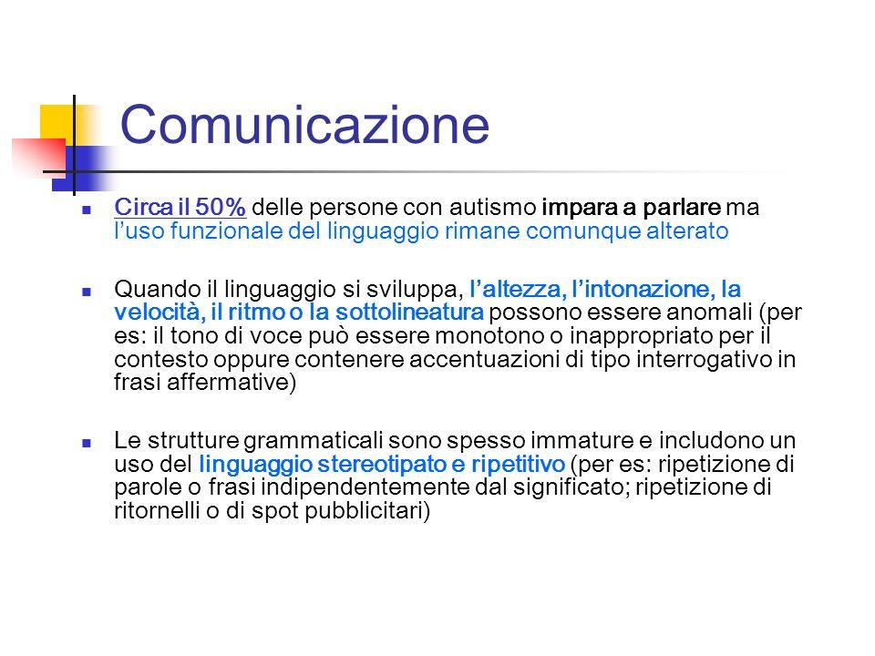 Comunicazione Circa il 50% delle persone con autismo impara a parlare ma l'uso funzionale del linguaggio rimane comunque alterato.