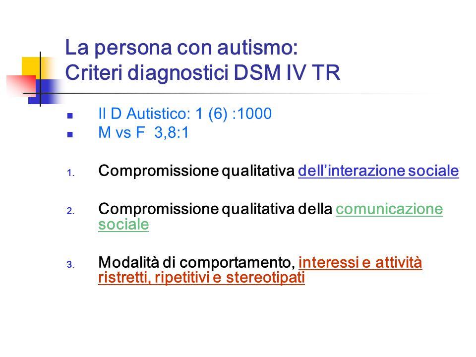 La persona con autismo: Criteri diagnostici DSM IV TR