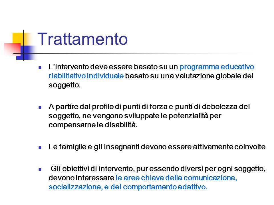 Trattamento L'intervento deve essere basato su un programma educativo riabilitativo individuale basato su una valutazione globale del soggetto.