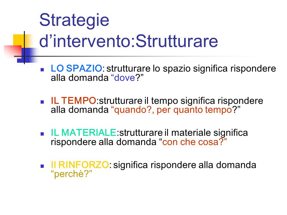 Strategie d'intervento:Strutturare