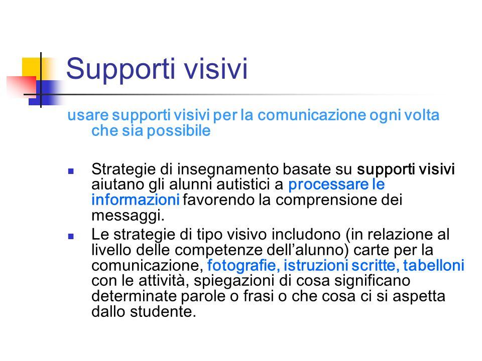 Supporti visivi usare supporti visivi per la comunicazione ogni volta che sia possibile.