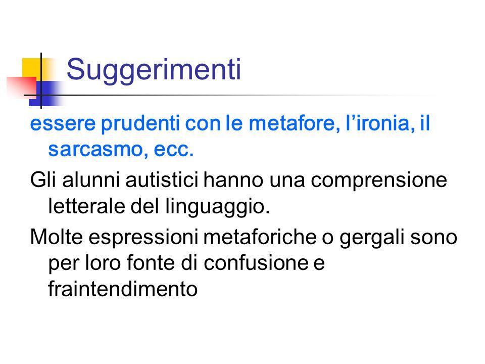 Suggerimenti essere prudenti con le metafore, l'ironia, il sarcasmo, ecc. Gli alunni autistici hanno una comprensione letterale del linguaggio.