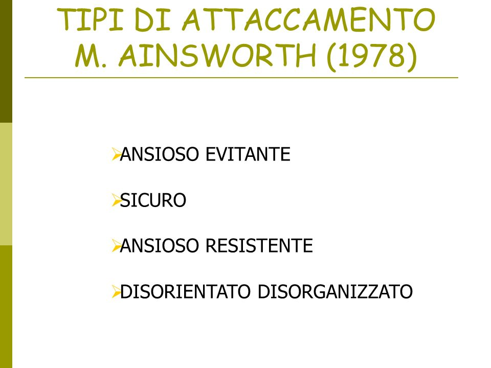 TIPI DI ATTACCAMENTO M. AINSWORTH (1978)