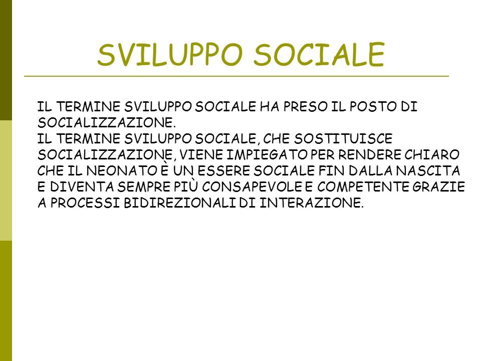 SVILUPPO SOCIALE IL TERMINE SVILUPPO SOCIALE HA PRESO IL POSTO DI SOCIALIZZAZIONE.