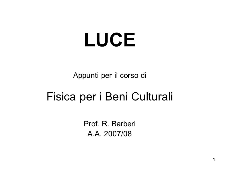 Fisica per i Beni Culturali